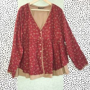 Tops - Floral Print Button Front Blouse w/ Crochet Trim
